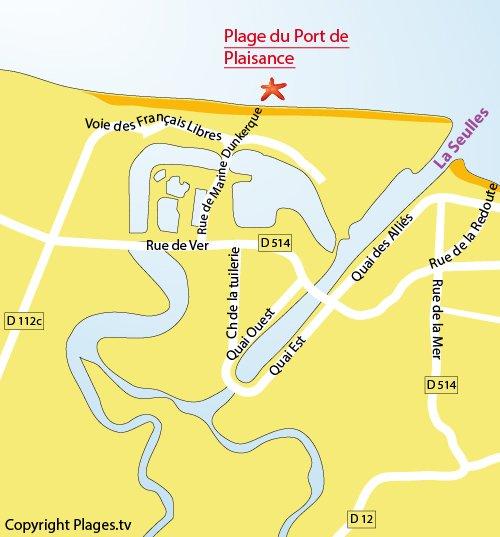 Carte de la plage du Port de Plaisance de Courseulles