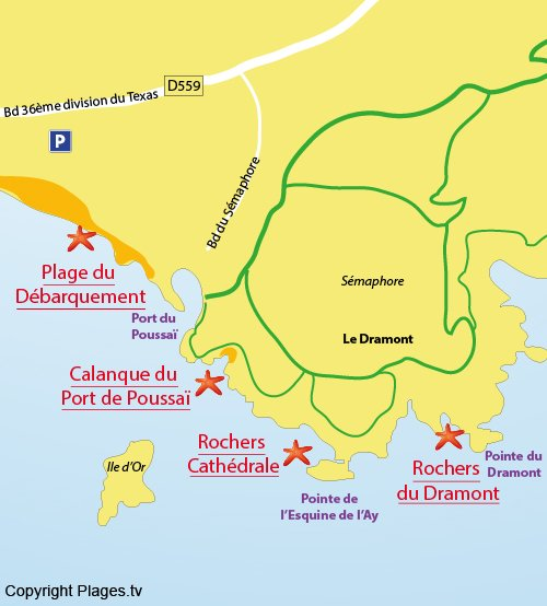 Map of Port Poussai Cove in St Raphael