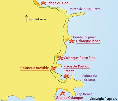 Map of the Port du Pradet Beach in Bormes les Mimosas