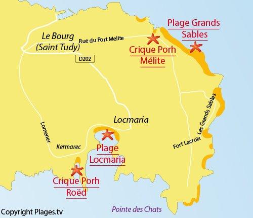 Carte de la plage de Port Roed sur l'ile de Groix