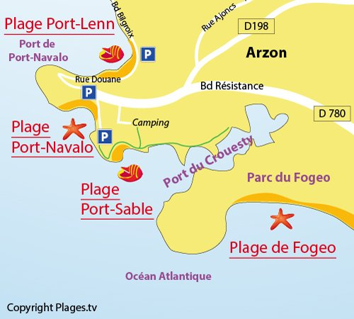 Plan de la plage de Port Sable à Arzon