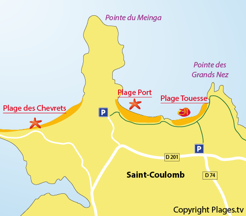 Map of the Port Beach in Saint Coulomb