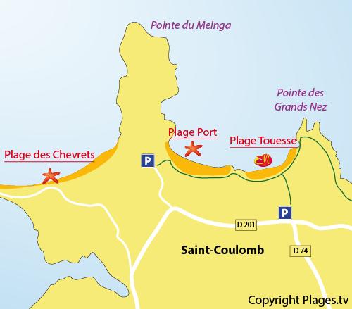 Carte de la plage du Port à Saint Coulomb