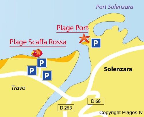 Carte de la plage dans le port de Solenzara