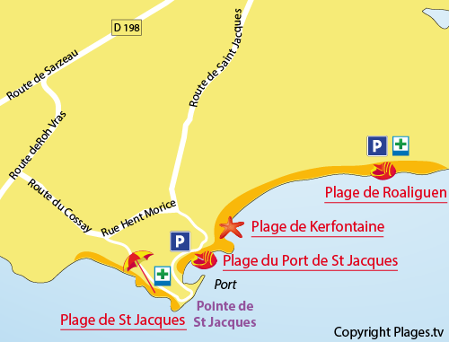 Plan de la plage du Port de St Jacques à Sarzeau