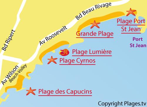 Carte de la plage du Port de St Jean à La Ciotat