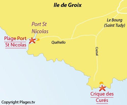 Carte de la plage de Port St Nicolas sur l'ile de Groix