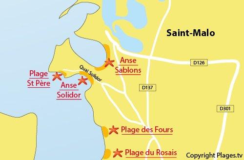 Plan de la plage de St Pere de St Malo