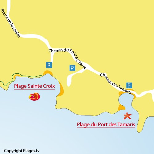 Mappa della Spiaggia del Port des Tamaris - La Couronne