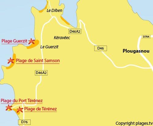 Carte de la plage dans le port de Térénez - Plougasnou