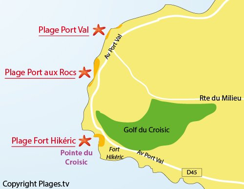 Map of Port Val Beach in Le Croisic