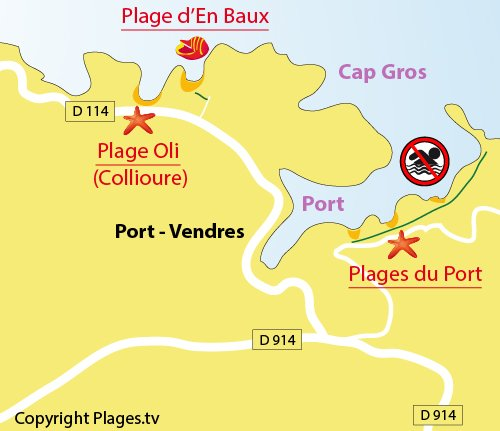 Map of the beaches in the Port-Vendrès harbour