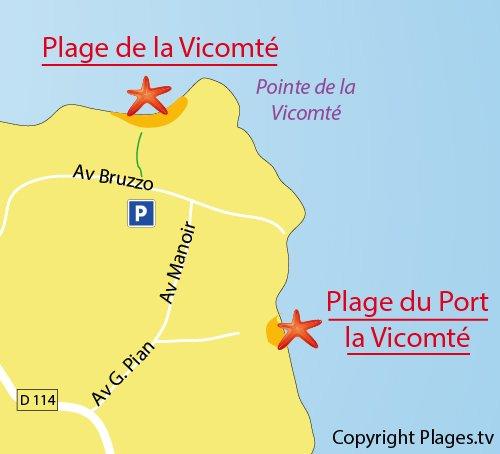 Plan de la plage de Port la Vicomte à Dinard