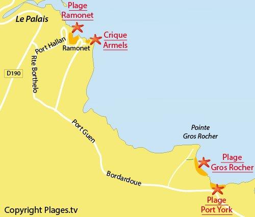 Carte de la plage de Port York à Belle Ile en Mer
