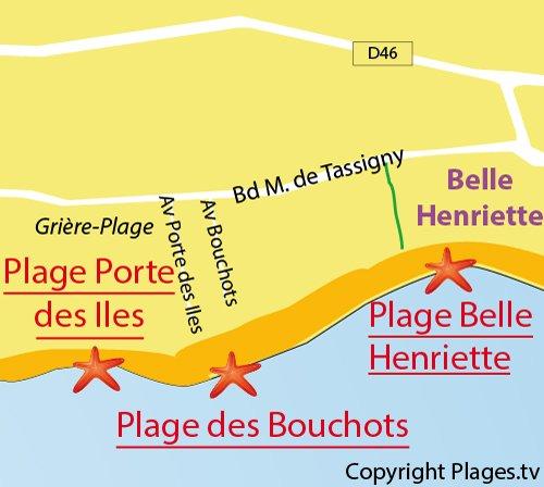 Carte de la plage de la Porte des Iles - La Tranche