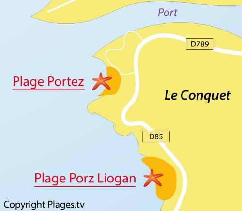 Carte de la plage de Portez à Le Conquet