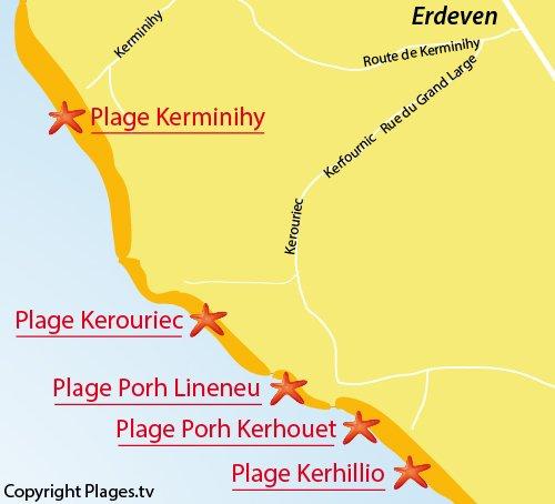 Map of Porh Kerhouet Beach in Erdeven