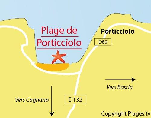 Carte de la plage de Porticciolo dans le Cap Corse