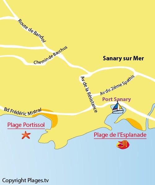 Plan de la plage de Portissol de Sanary sur Mer