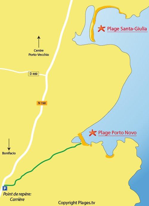 Carte de la plage de Porto Novo à Porto-Vecchio (Corse)