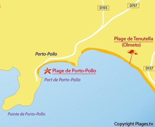 Plan de la plage de Porto Pollo (Corse)