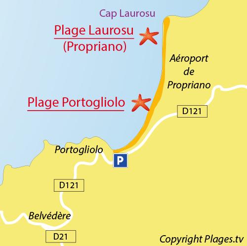 Plan de la plage de Portigliolo en Corse