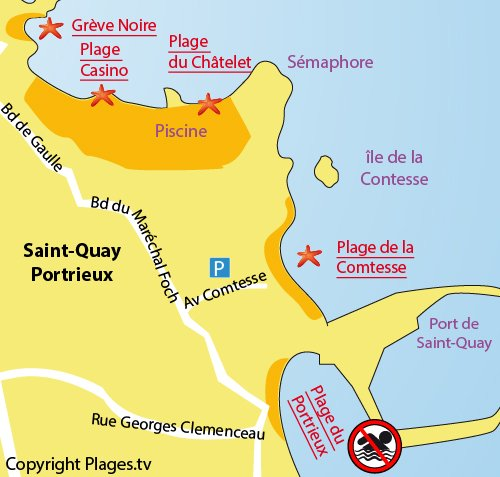 Map of Portrieux beach in Saint Quay Portrieux in France