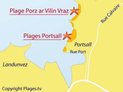 Carte de la plage de Portsall à Ploudalmézeau