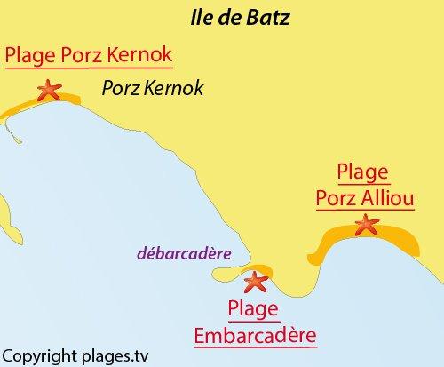 Carte de la plage de Porz Alliou à Batz