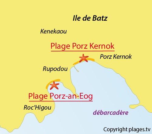 Carte de la plage de Porz an eog sur l'ile de Batz
