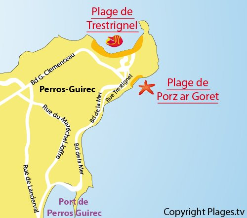 Map of the Porz ar Goret Beach in Perros Guirec