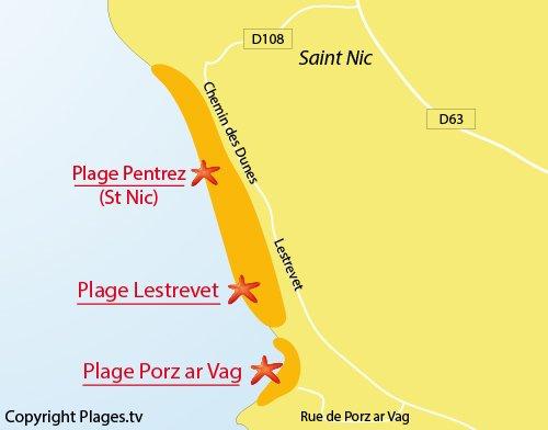 Carte de la plage de Porz ar Vag en Bretagne
