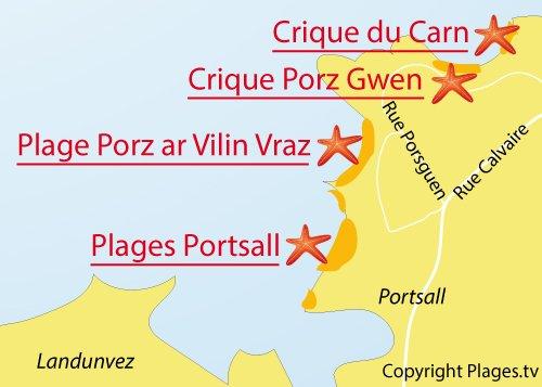 Carte de la plage de Porz ar Vilin Vraz à Ploudalmezeau en Bretagne