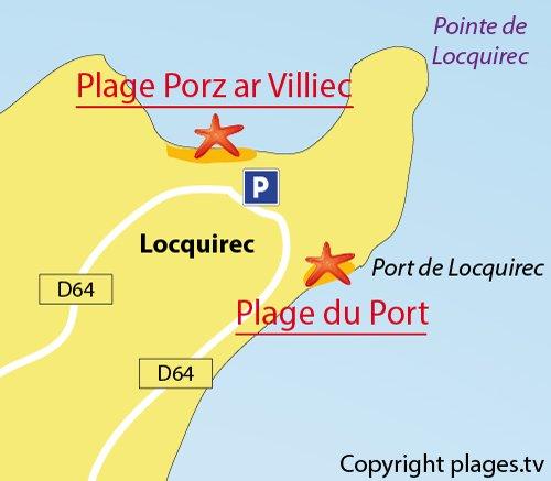 Carte de la plage de Porz ar Villiec