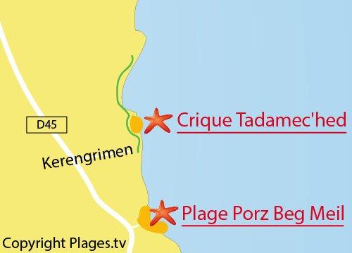 Carte de la plage de Porz Beg Meil à Fouesnant