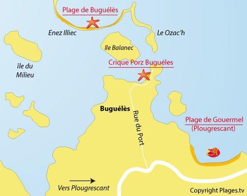 Carte de la plage de Porz Bugueles à Penvénan
