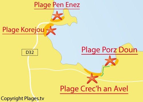 Carte de la plage de Porz Doun à Plouguerneau