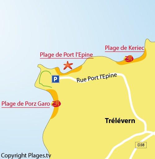 Plan de la plage de Porz Garo à Trélévern