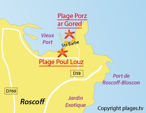 Map of Pors ar Goret Beach in Roscoff