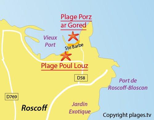 Carte de la plage de Porz ar Gored à Roscoff