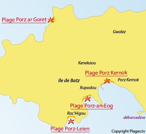 Carte de la plage de Porz ar Goret au nord de l'ile de Batz