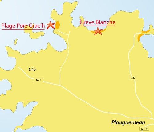 Carte de la plage de Porz Grac'h à Plouguerneau