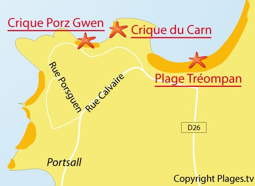 Carte de la plage de Porz Gwen à Ploudalmézeau