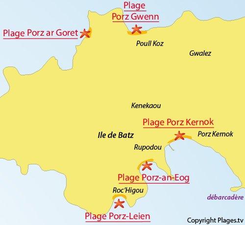 Carte de la plage de Porz Gwenn à Batz