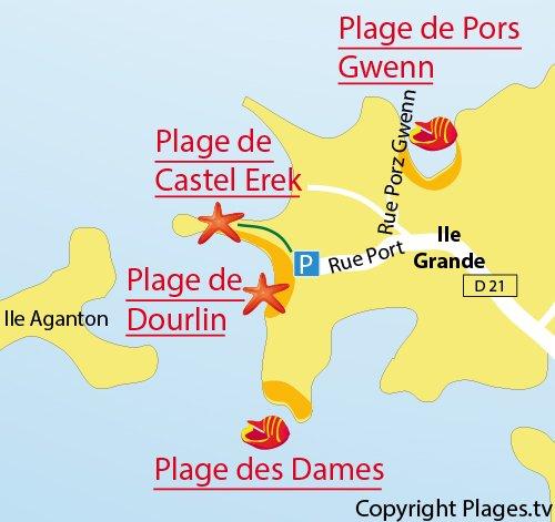 Carte de la plage de Porz Gwenn de Pleumeur Bodou