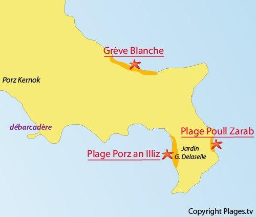 Localisation de la plage de Porz an Illiz sur l'ile de Batz