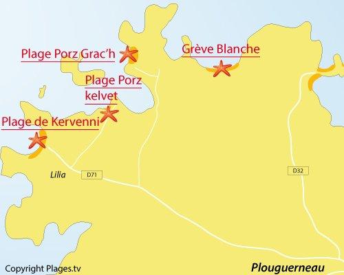 Carte de la plage de Porz Kelvet à Plouguerneau