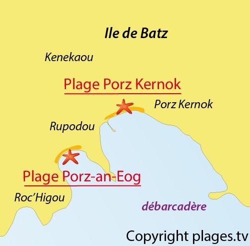 Carte de la plage de Porz Kernok sur l'ile de Batz