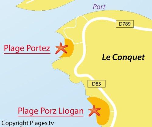 Carte de la plage de Porz Liogan à Le Conquet