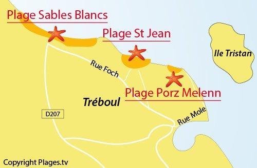 Carte de la plage de Porz Melenn à Tréboul